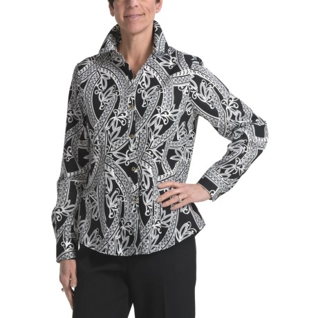 Foxcroft Grecian Print Cotton Shirt - Long Sleeve (For Women)