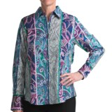 Foxcroft Cotton Shirt - Paisley Stripe, Long Sleeve (For Women)