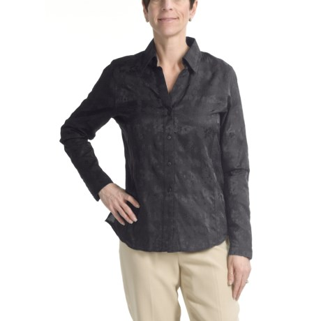 Foxcroft Floral Jacquard Shirt - Long Sleeve (For Women)