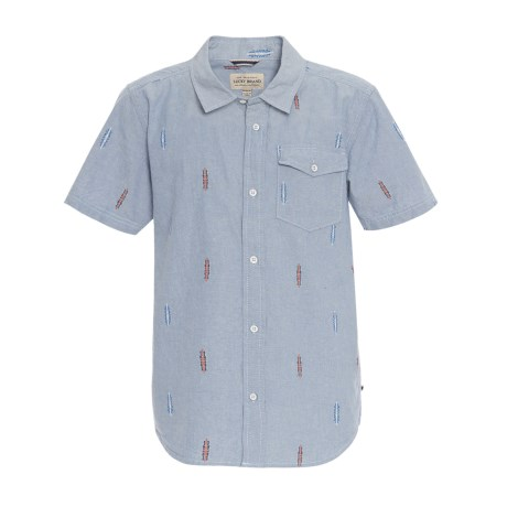 Lucky Brand Chambray Woven Shirt - Short Sleeve (For Big Boys)