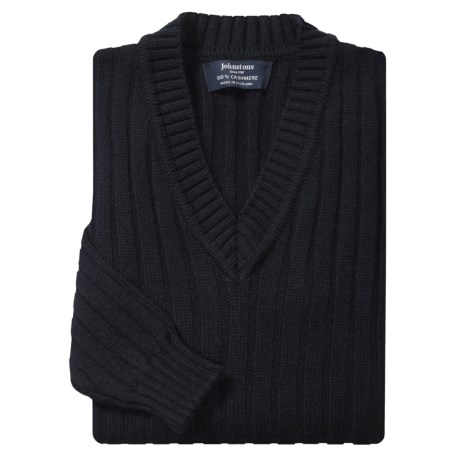 Johnstons of Elgin Cashmere Sweater - Ribbed, V-Neck (For Men)