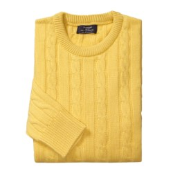Johnstons of Elgin Cashmere Cable Sweater - Round Neck (For Men)