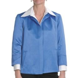 Louben Lustrous Jacket - Open Front, 3/4 Sleeve (For Women)