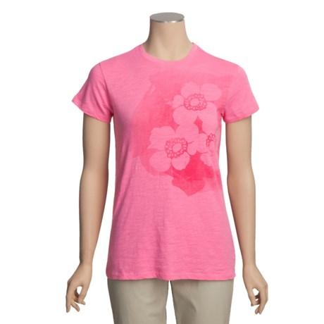 White Sierra Flower Graphic T-Shirt - Short Sleeve (For Women)