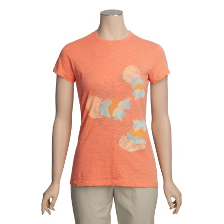 White Sierra Feather Graphic T-Shirt - Short Sleeve (For Women)
