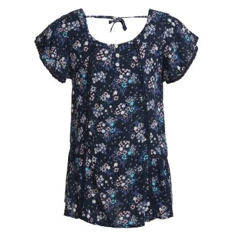P.S. from Aeropostale Woven Flutter-Sleeve Shirt - Short Sleeve (For Big Girls)