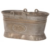 """Zaer Iron Oval Planter with Moving Handles - 7.5x4.3x6.5"""""""