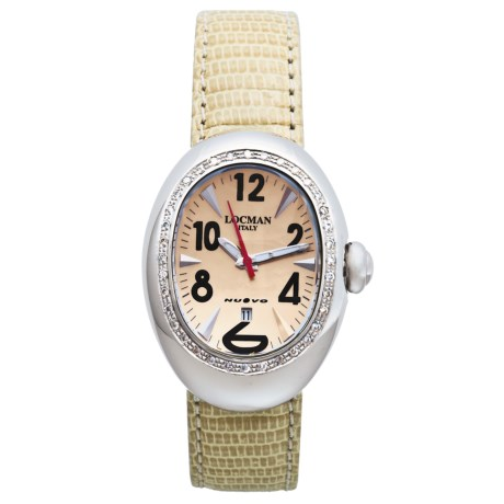 Locman Nuovo Diamond Bezel Watch - Mother-of-Pearl Dial (For Women)