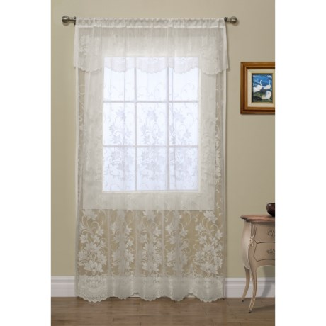 """Habitat Scalloped Lace Curtains - 108x84"""", Pole-Top, Attached Valance"""