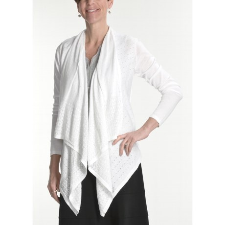Tribal Sportswear Pointelle Cardigan Sweater - Cotton, Drape Front (For Women)