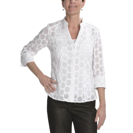 Tribal Sportswear Embroidered Cotton Shirt - 3/4 Sleeve (For Women)