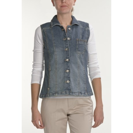 Tribal Sportswear Denim Vest - Stretch (For Women)