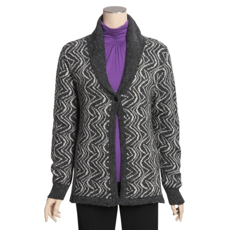 San York Jacquard Open Cardigan Sweater - Alpaca (For Women)