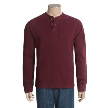 Specially made Knit Thermal Henley Shirt - Long Sleeve (For Men)