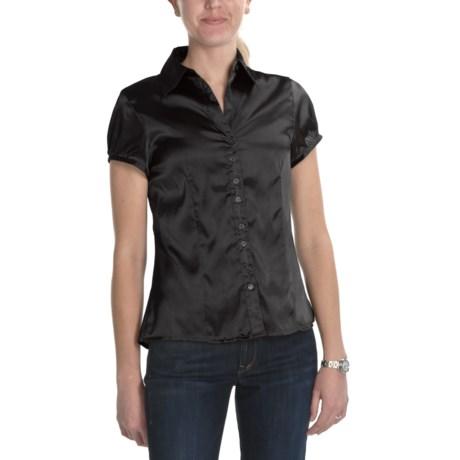 Satin Blouse - Short Sleeve (For Women)