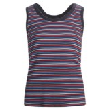 Striped Cotton Tank Top - Scoop Neck (For Women)