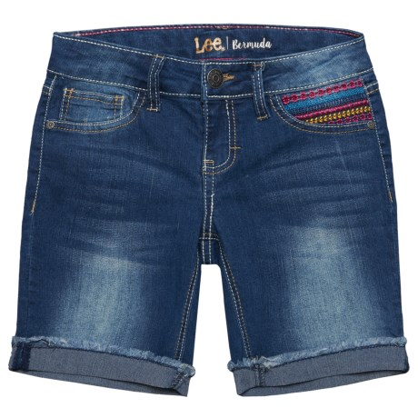 Lee Burmuda Stretch Embroidered Pocket Shorts (For Big Girls)