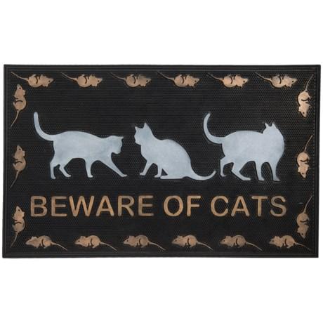 """Imports Décor Beware of Cats Rubber Doormat - 18x30"""""""