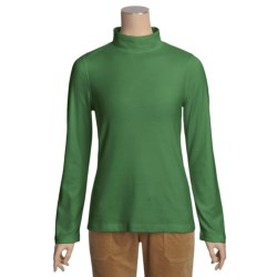 Cotton Mock Turtleneck - Long Sleeve (For Women)