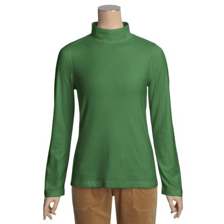 Specially made Cotton Mock Turtleneck - Long Sleeve (For Women)