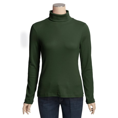Cotton Shaped-Fit Turtleneck - Long Sleeve (For Women)