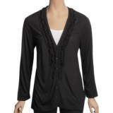 August Silk Ruffle Neck Cardigan Sweater - Tissue Rayon (For Women)