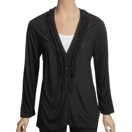 August Silk Ruffle Neck Cardigan Sweater - Tissue Rayon (For Women)