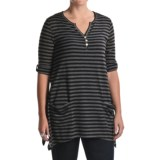 August Silk Whispy Jersey Henley Tunic Shirt - Stripe, 3/4 Sleeve (For Women)