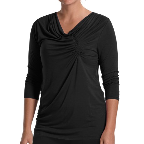 August Silk Jersey Knit Shirt - Pleated Neck, 3/4 Sleeve (For Women)