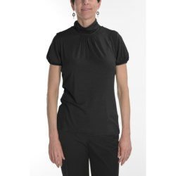 August Silk Stretch Scrunch Mock Turtleneck - Short Sleeve (For Women)