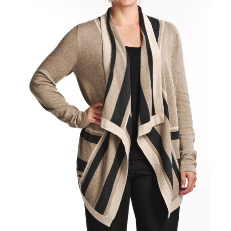 August Silk Stripe Trim Drape Cardigan Sweater (For Women)