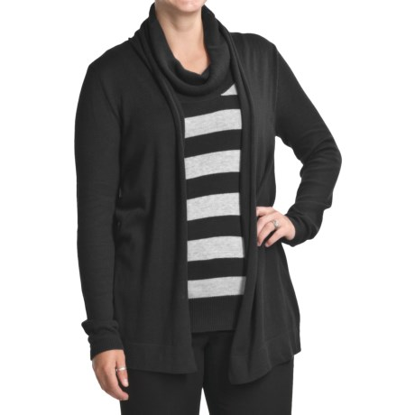 August Silk Duet Cardigan Sweater with Striped Cowl Neck Shirt (For Women)
