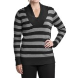 August Silk Striped Crossover Sweater  (For Women)