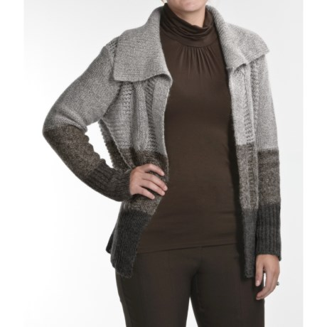 August Silk Cable Cardigan Sweater - Open Front, Long Sleeve (For Women)