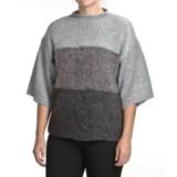 August Silk Funnel Neck Sweater - 3/4 Sleeve (For Women)