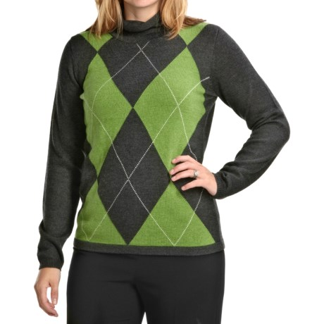 August Silk Argyle Sweater (For Women)