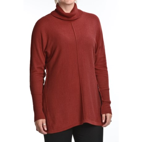 August Silk Shark Bite Turtleneck Tunic - Cotton-Rich, Long Sleeve (For Women)