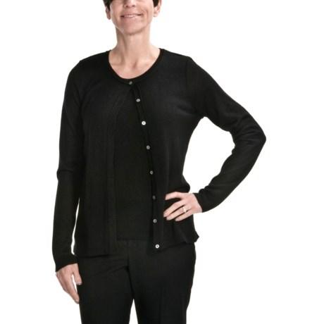 August Silk Warm Hand Cardigan Sweater - Lightweight (For Women)