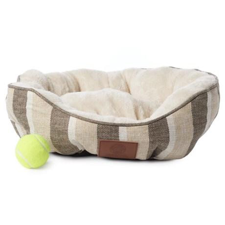 AKC Stripe Burlap Clam Dog Bed - 19x17