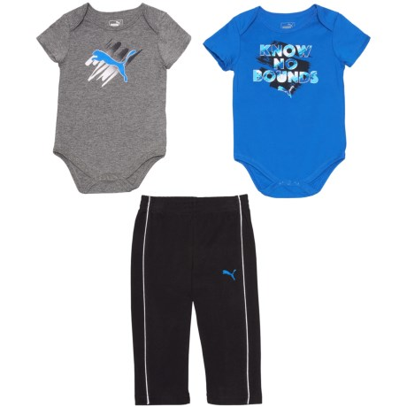 Puma Baby Bodysuits and Track Pants Set - 3-Piece, Short Sleeve (For Infants)