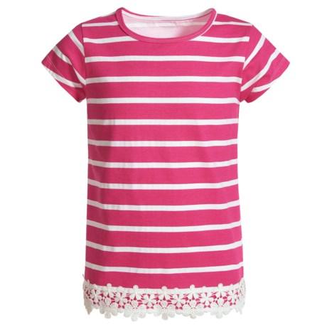 French Toast Crochet Hem T-Shirt - Crew Neck, Short Sleeve (For Big Girls)