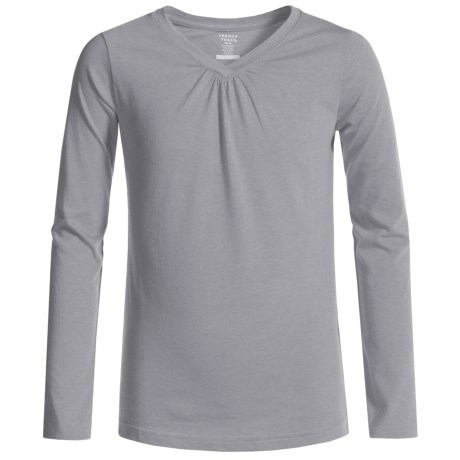 French Toast V-Neck T-Shirt - Long Sleeve (For Big Girls)