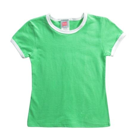 Hanes Ringer T-Shirt - Short Sleeve (For Girls)