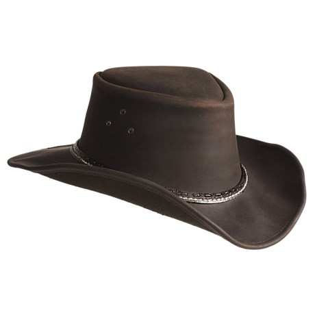 Kakadu Coolongatta Vintage Leather Hat - Welt Band, Shapeable Brim (For Men and Women)