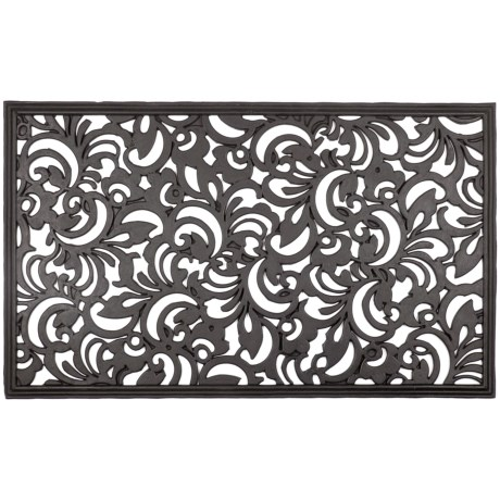"""Entryways Scroll Flowers Recycled Rubber Doormat - 18x30"""""""