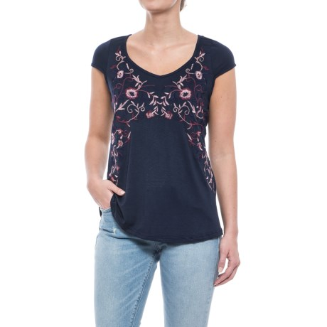 Forgotten Grace Embroidered Knit Shirt - Short Sleeve (For Women)