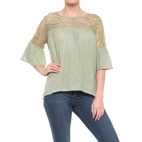 Forgotten Grace Crochet Shoulder Flutter Sleeve Shirt - 3/4 Sleeve (For Women)