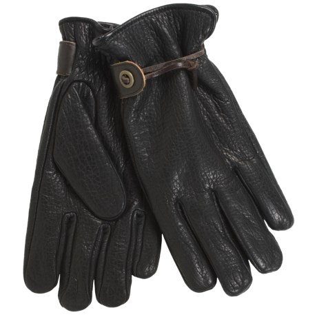 Cire by Grandoe Crazy Horse Gloves - Pebbled Bison Leather, Micropile Lining (For Men)