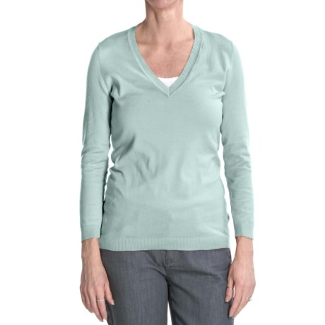 Cullen Pima Cotton Sweater - V-Neck, 3/4 Sleeve (For Women)