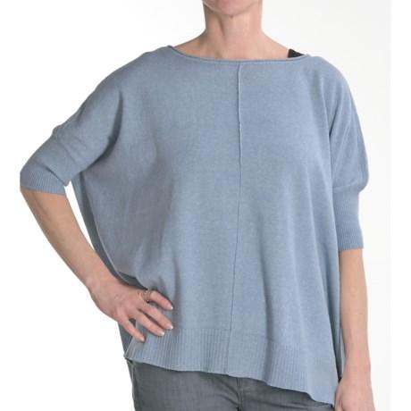 Cullen Cotton Blanket Sweater - Roll Neck, Elbow Sleeve (For Women)